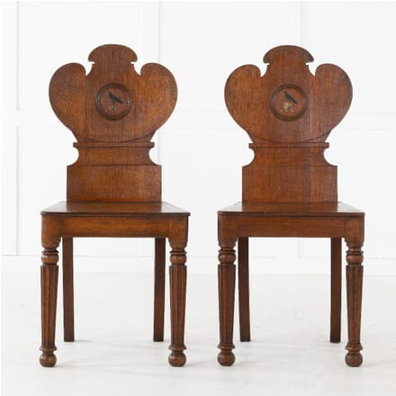 Pair of 19th Century Oak Hall Chairs CH0610944