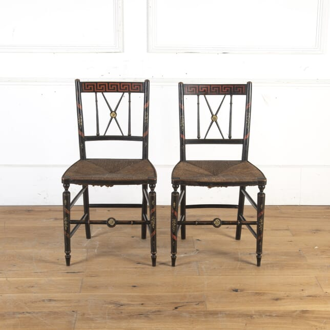 Pair of 19th Century Rush Seat Painted Chairs CH5914237