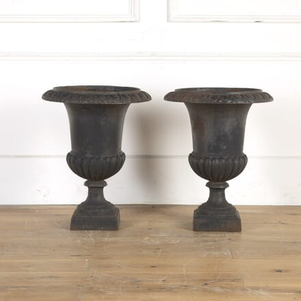 Pair of 20th Century Cast Iron Campagna Urns GA8014333