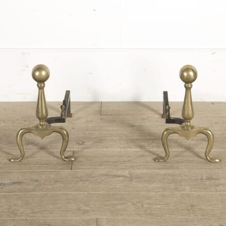 Pair of 20th Century English Brass Andirons DA1510473