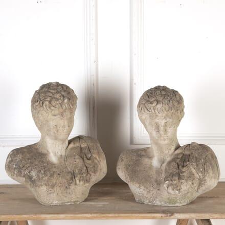 Pair of 20th Century Stone Busts of Roman Centurions GA8013792