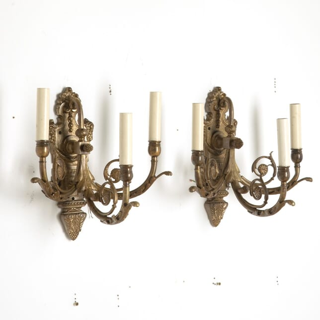 Pair of 3 Branch Classical Wall Sconces LC2110756