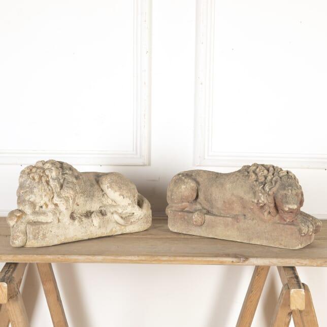 Pair of Antique Stone Lions GA8013773