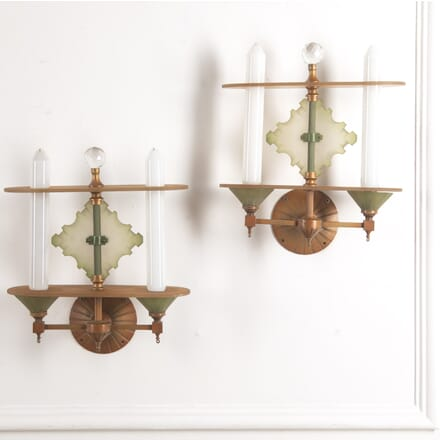 Pair of Art Deco Gilt Metal and Glass Wall Lights LL0516720