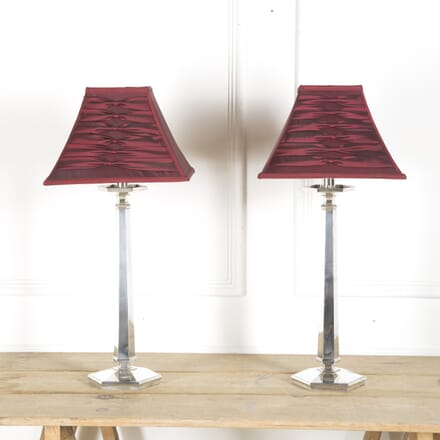Pair of Arts & Crafts Plated Table Lamps LT0510023