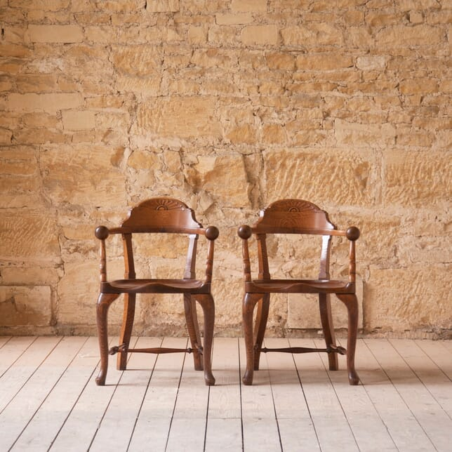 Pair of Arts and Crafts Oak Armchairs CH7610602