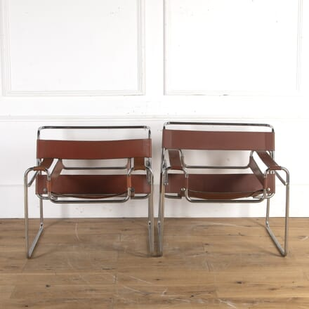 Pair of Bauhaus Chrome and Leather Armchairs CH8914302