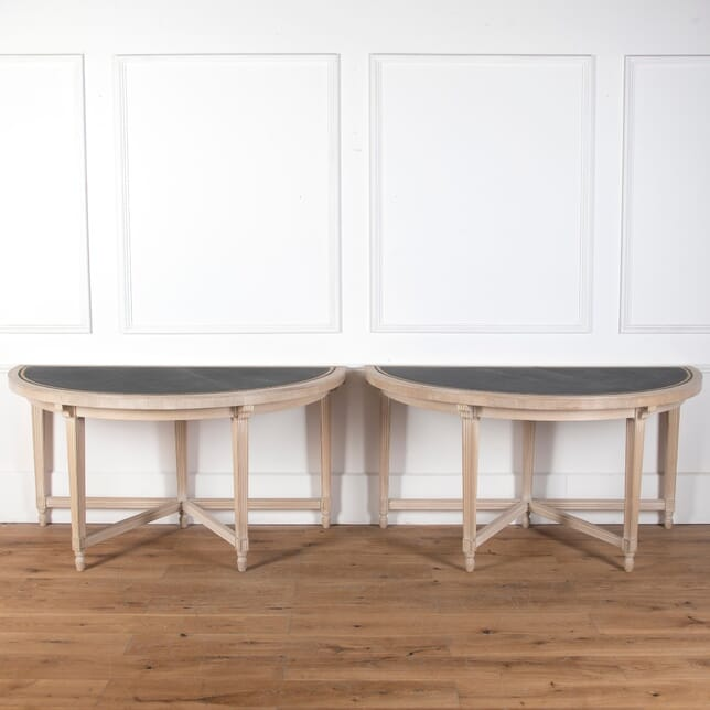 Pair of Bleached Walnut Demi Lune Tables CO3610662