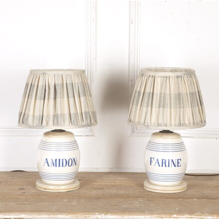 Pair of Blue and White Ceramic Lamps with Shades LT9015480