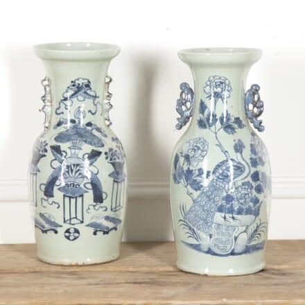Pair of 19th Century Blue and White Vases DA2815972