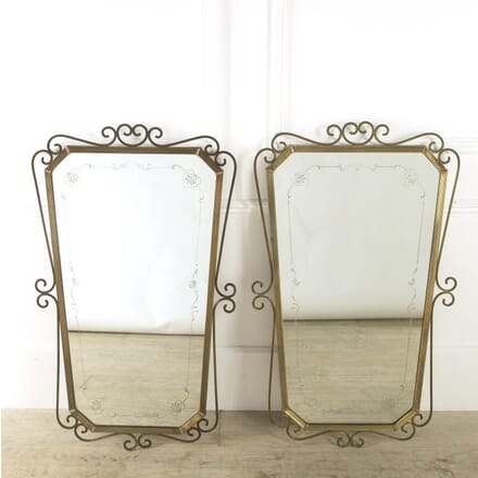 Pair of Brass and Copper Mirrors MI529271