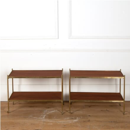Pair of Brass and Mahogany End Tables BD3510924