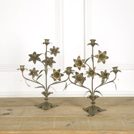 Pair of Brass Lily Candleabras DA159343