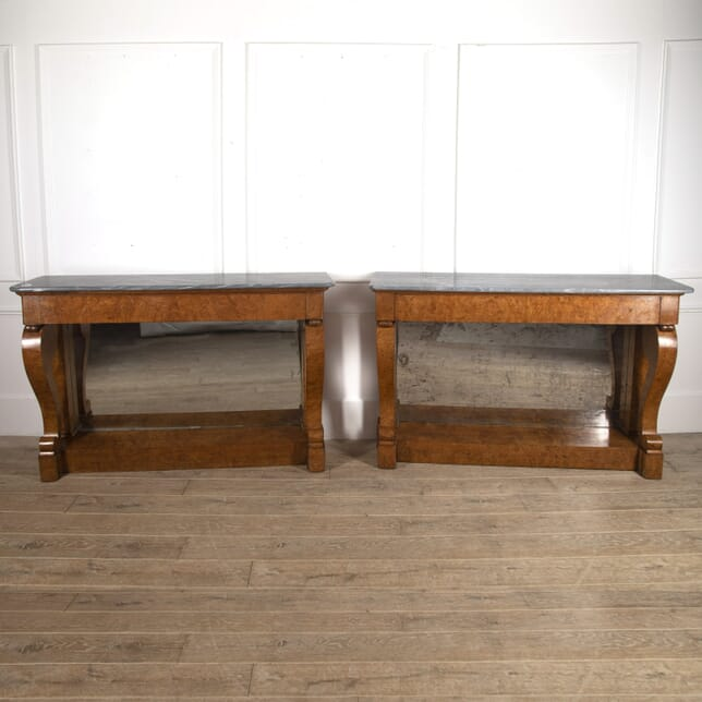 Pair of French Burr Maple Console Tables CO3915793