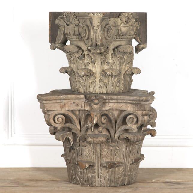 Pair of French Corinthian Column Capitals DA2815970