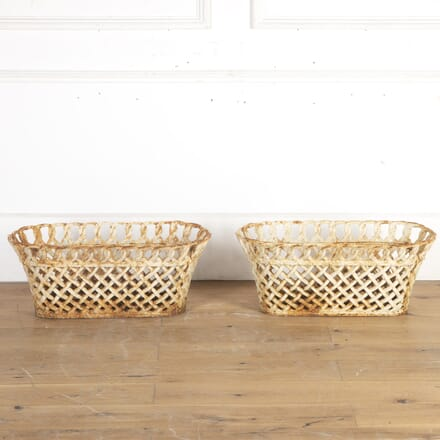 Pair of Cast Iron Lattice Planters GA8113947