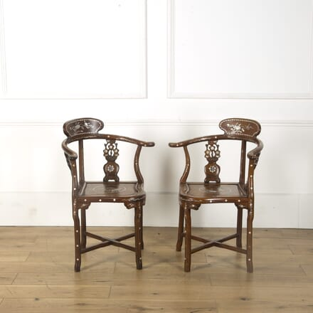 Pair of Chinese Rosewood Corner Chairs Inlaid with Mother of Pearl CH599488