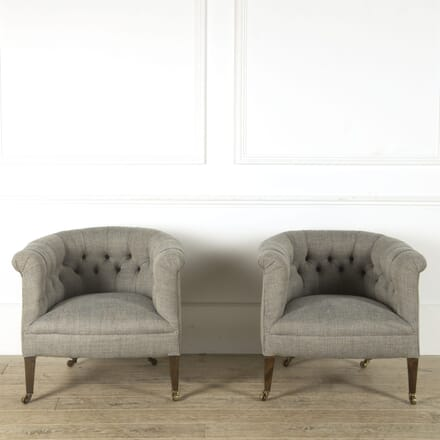 Pair of Edwardian Upholstered Tub Chairs CH209221