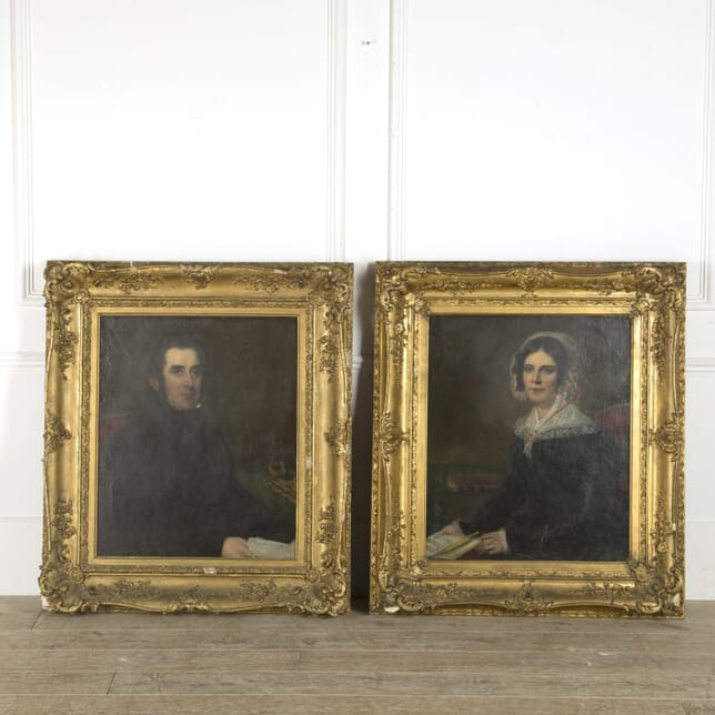 Pair of Early 19th Century Victorian Oil on Canvas Portrait Paintings WD889708