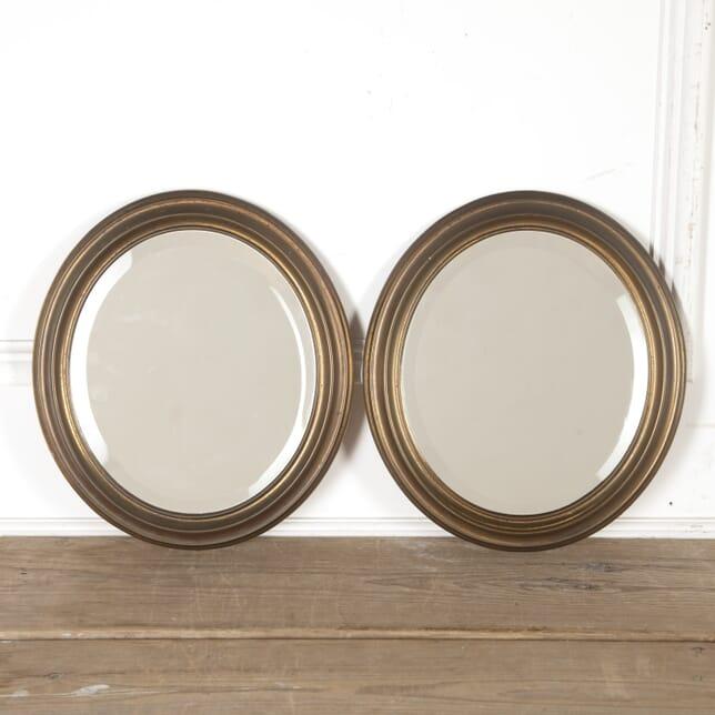 Pair of 20th Century Oval Brass Mirrors MI5715001