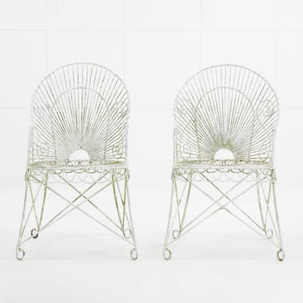 Pair of Early 20th Century French Iron and Wire Armchairs CH069900
