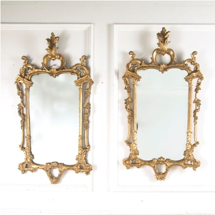 Pair of Early 20th Century Italian Florentine Carved Giltwood Wall Mirrors MI889707