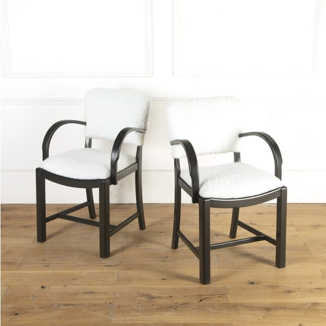 Pair of Ebonised and Faux Shearling Armchairs CH8413919
