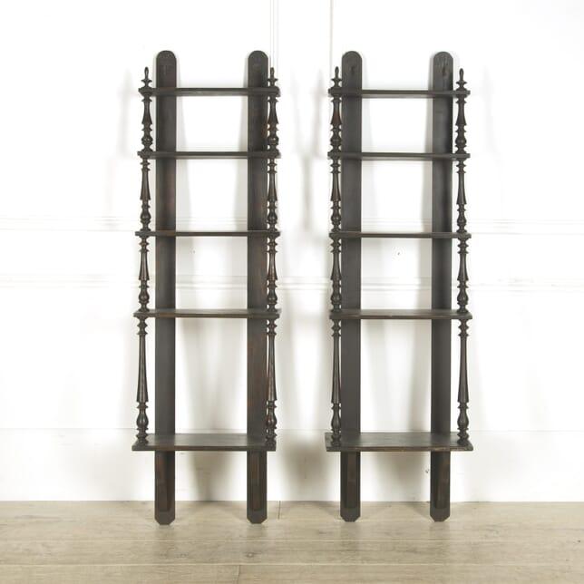 Pair of Ebonised Black Shelves BK1310006