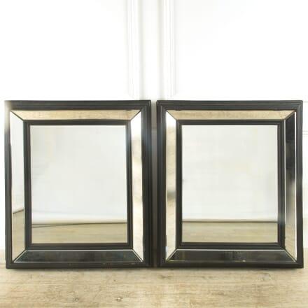 Pair of Ebonised Marginal Cushion Mirrors MI419727