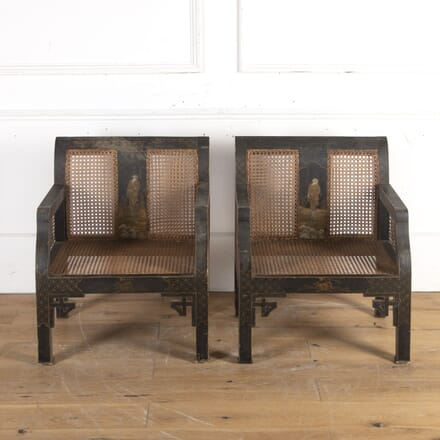 Pair of 19th Century Ebonised and Wicker Armchairs CH8914290