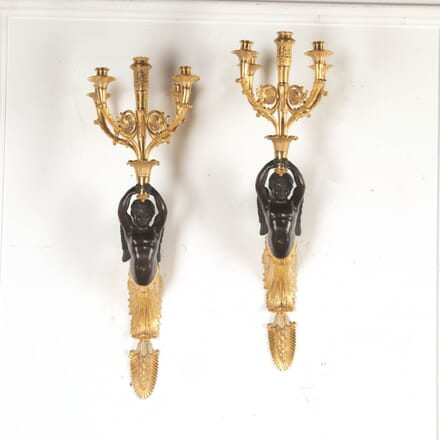 Pair of French Gilt and Bronze Wall Sconces DA8716221