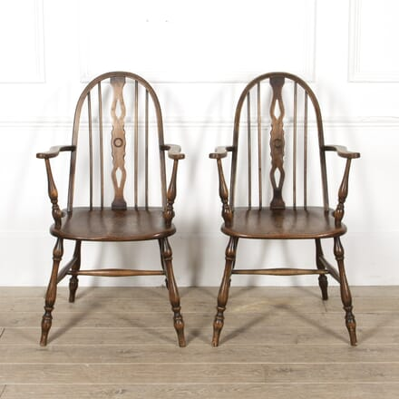 Pair of English Windsor Style Armchairs CH8817451