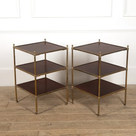 Pair of English Brass and Mahogany Étagères CO3516886