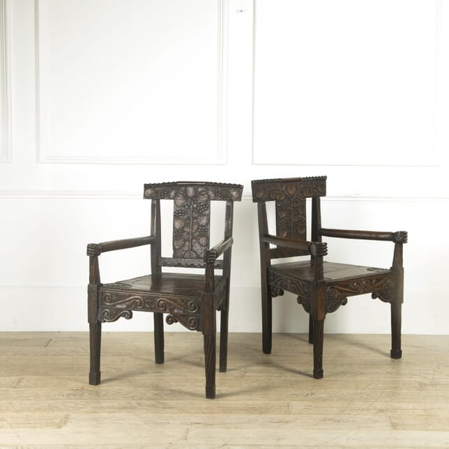 Pair of Folk Art Carved Oak Chairs CH419729