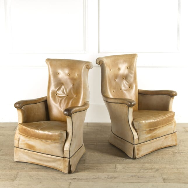 Pair of French 1940s Tan Leather Chairs CH4110242