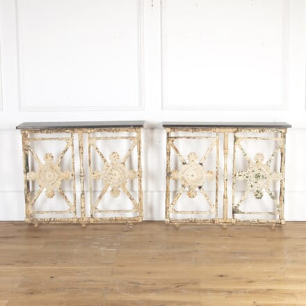 Pair of French 19th Century Cast Iron Console Tables CO8113752