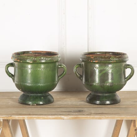Pair of French 19th Century Green Glazed Planters GA5916453