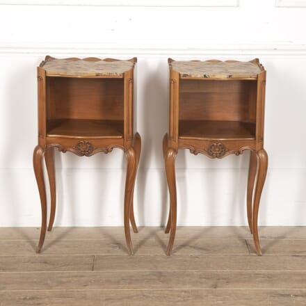 Pair of French Cherrywood and Marble Nightstands BD5216367