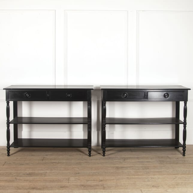 Pair of French Ebonised Console Tables CO4516237