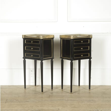 Pair of French Empire Ebonised Nightstands BD529797
