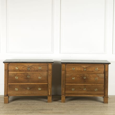 Pair of French Fruitwood Commodes with Marble Tops CC019383
