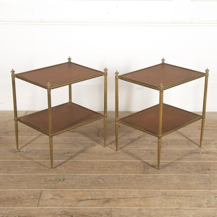 Pair of French Leather and Brass Side Tables CO3516348
