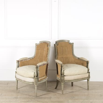Pair of French Louis XVI Painted Bergeres Chairs CH459877