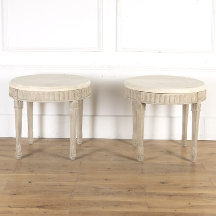 Pair of French Mid Century Side Tables with Marble Tops TA8114874