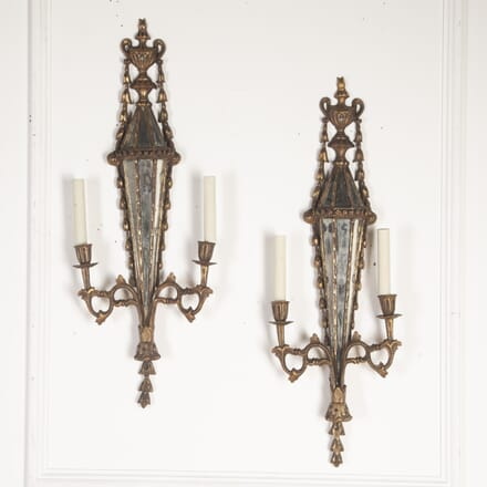 Pair of French Mirrored Wall Candelabra LW8113794