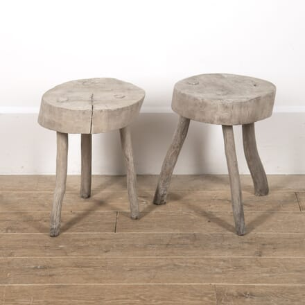 Pair of French Primitive Bleached Oak Side Tables CO4516694