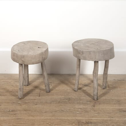 Pair of French Primitive Bleached Oak Side Tables CO4516695