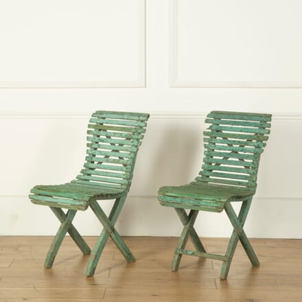 Pair of French Slatted Garden Chairs GA719148