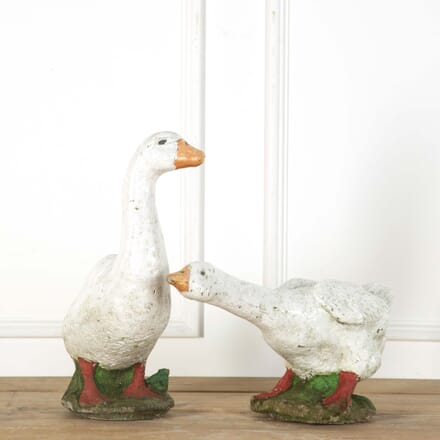 Pair of French Vintage Painted Composition Geese DA519123