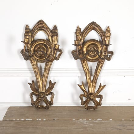 Pair of French Gilded Sconces LW2014991